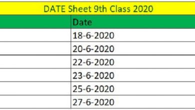Photo of  Date Sheet 9th Class 2020 All BISE Boards