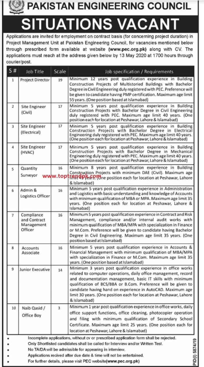 Pec jobs 2020 application form