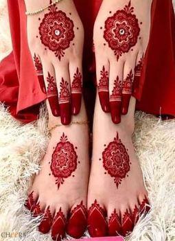 Red Mehndi Designs