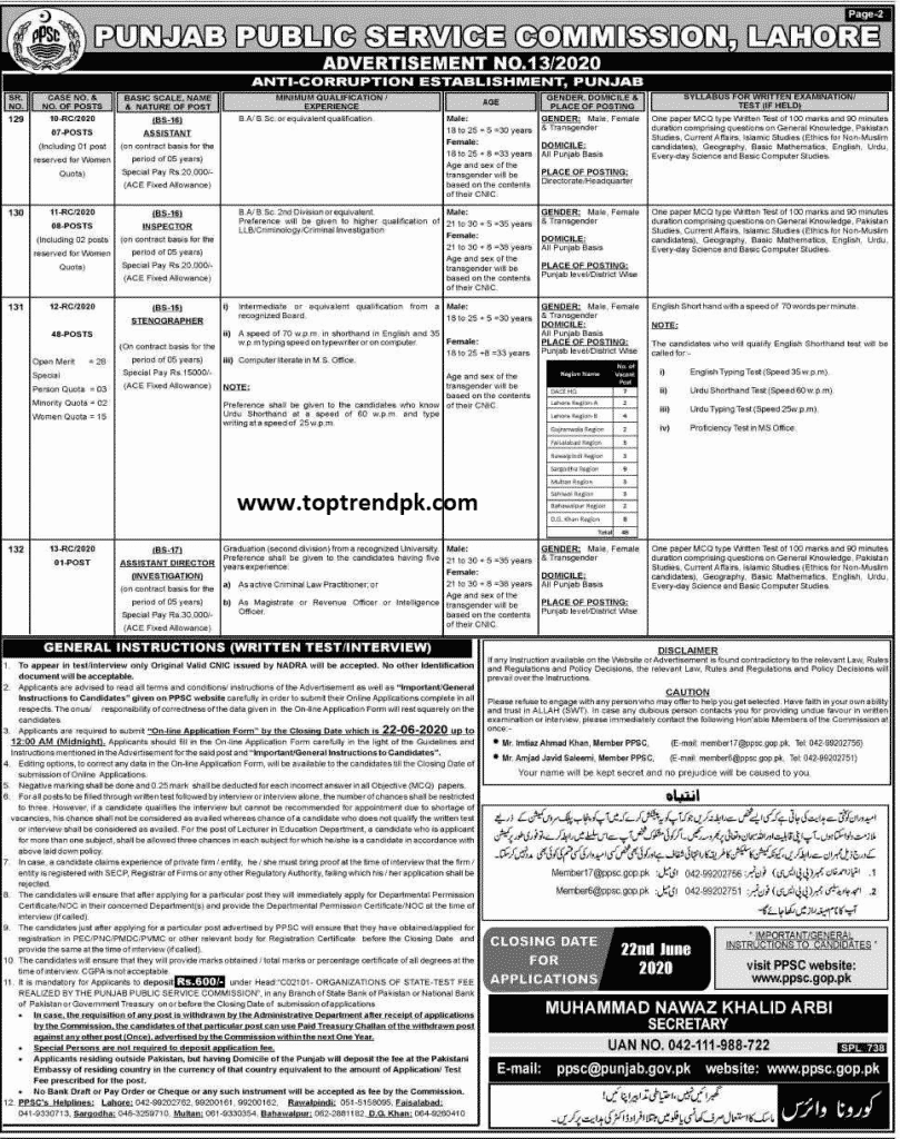 Latest Jobs In Anti Corruption Department  2020 [Apply Online]