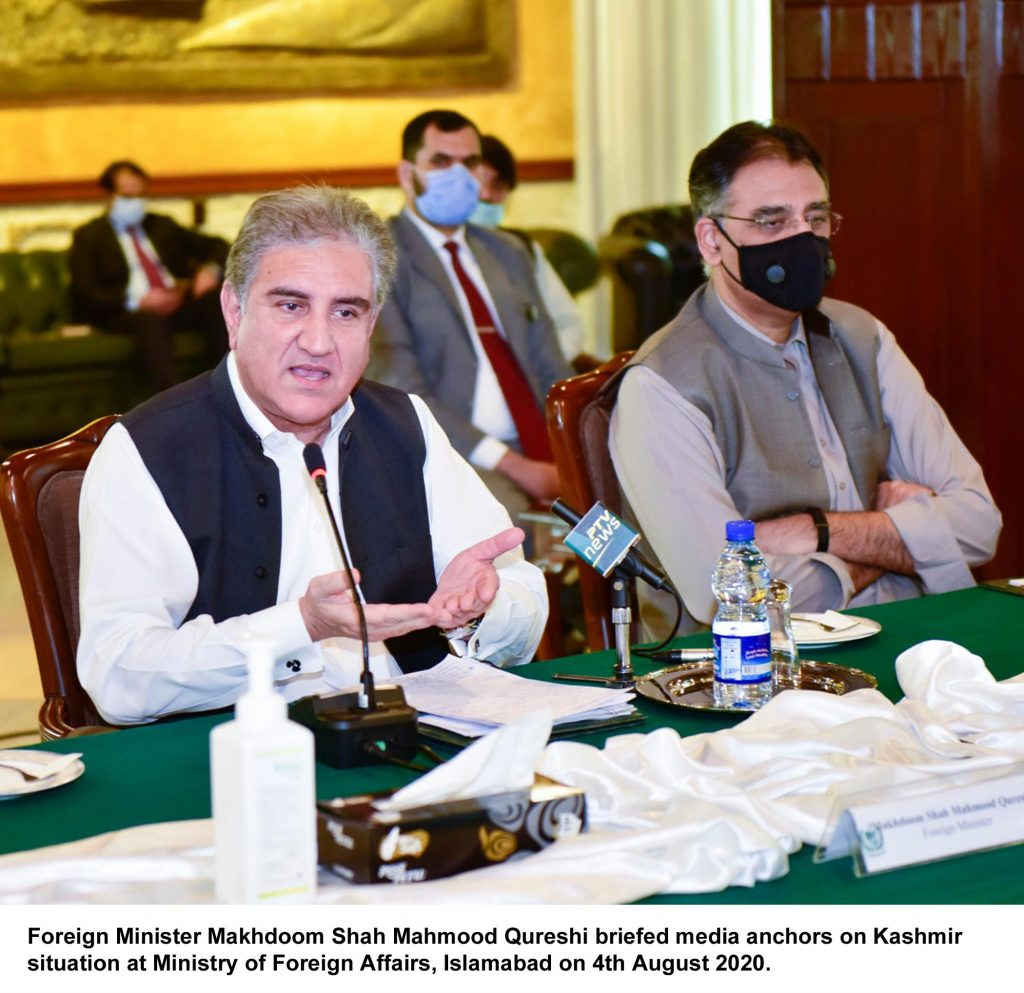 Foreign Minister Makhdoom Shah Mahmood Qureshi briefed media anchors on Kashmir situation at Ministry of Foreign Affairs, Islamabad on 4th August 2020.