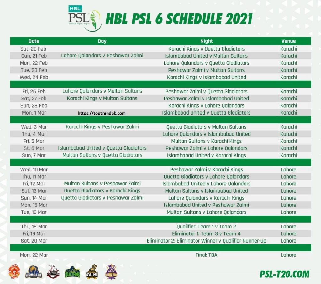 PSL Schedule 2021 PSL Schedule 2021 -MATCH, DATE, TIMING & VENUE