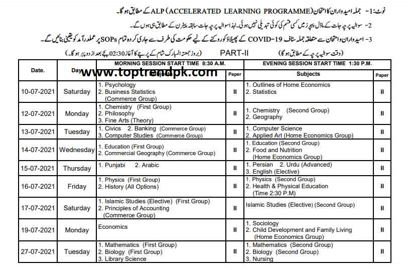 Bise Lahore 12th class date sheet BISE Lahore board date sheet 2021 | All Date Sheets
