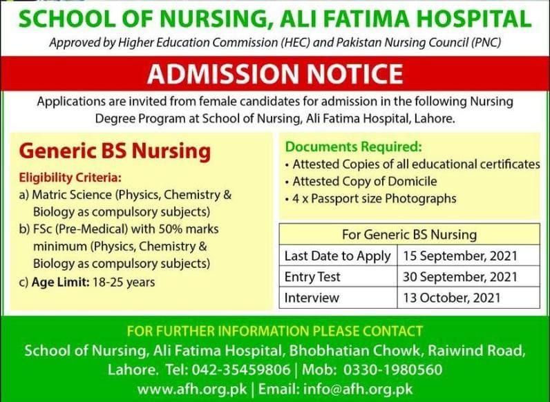 School of Nursing Ali Fatima Hospital Admission 2021